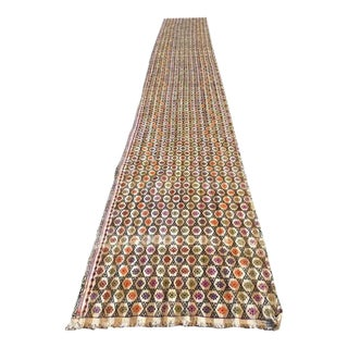 Oversized Vintage Turkish Kilim Runner Rug - 3′4″ × 24′8″