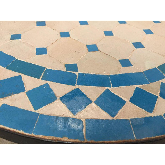 Islamic Moroccan Mosaic Outdoor Turquoise Tile Side Table on Low Iron Base For Sale - Image 3 of 9