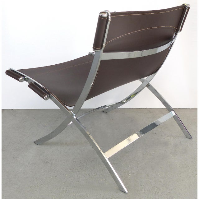 Paul Tuttle, Antonio Citterio for Flexform Italia Scissor Chairs in Stainless Steel & Leather-A Pair For Sale In Miami - Image 6 of 13