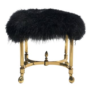 Petit Brass Footrest or Bench with Mongolian Wool For Sale