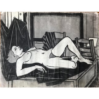1940s Lounging Nude California Artist Charcoal Drawing For Sale