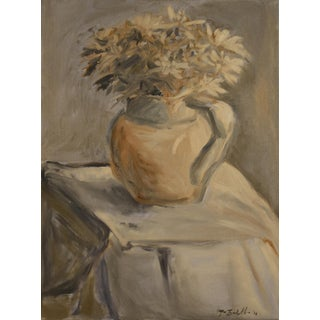 """""""White Mums in a Porcelain Water Pitcher"""" Painting For Sale"""