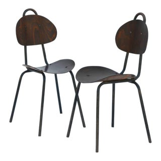 Pair of Unique French Industrial Bentwood Side Chairs For Sale