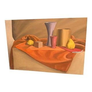 """Vintage Mid-Century Still Life Painting """"Fruit & Vases"""""""