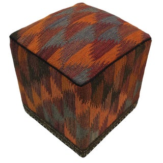 Boho Chic Cambell Orange/Rust Handmade Kilim Upholstered Ottoman For Sale