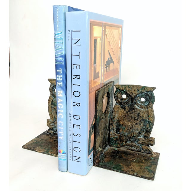 Vintage Metal Owl Bookends - A Pair - Image 6 of 9
