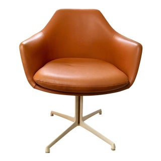 Orange Naugahyde Pedestal Chair For Sale