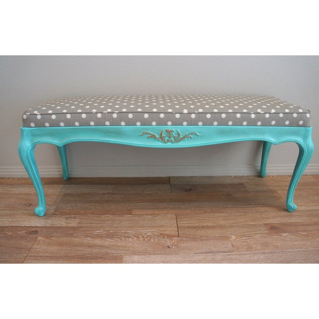 Vintage French-Style Aqua Blue & Grey Dot Bench - Image 2 of 6