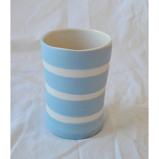 Contemporary Ceramic Striped Cylindrical Vessels - Group of 6 For Sale - Image 10 of 11