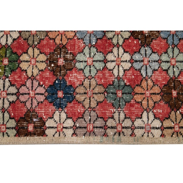 Vintage Turkish Scatter Wool Rug 4 X 7 For Sale - Image 9 of 13