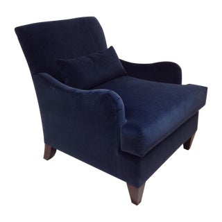 Baker Blue Velvet Abbey Chair For Sale