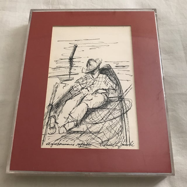 "Framed ""Fishermans Repose"" Original Ink Drawing - Image 6 of 6"