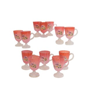 1890s Cranberry Glass Cups, Hand Painted Flowers - Set of 12 For Sale