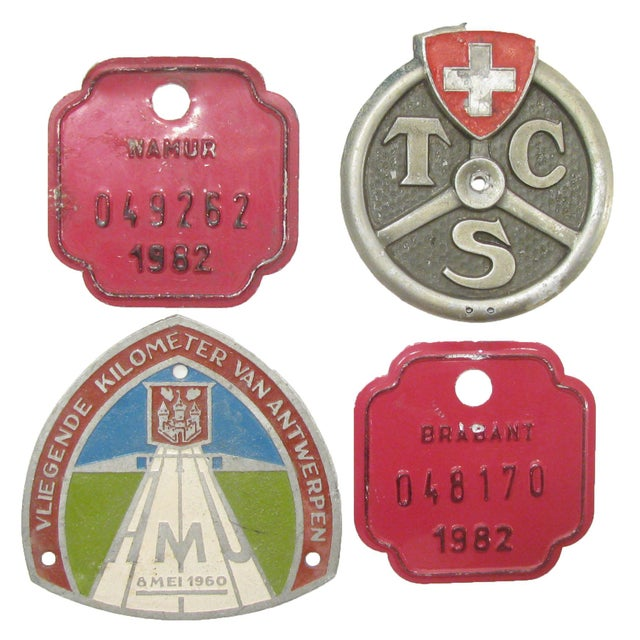 Mid 20th Century European Auto & Bicycle Shield Collection, S/4 For Sale - Image 5 of 5