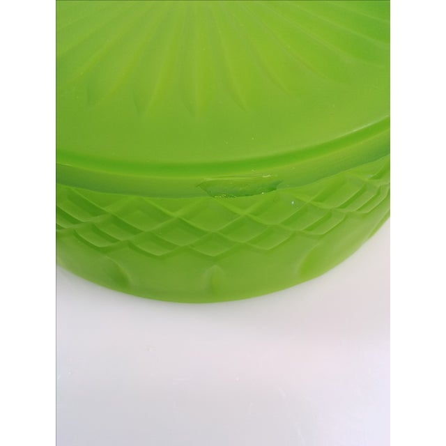 Indiana Glass Green Satin Candy Dish - Image 9 of 10