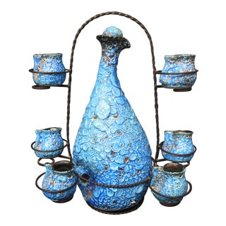 Turquoise Italian Carafe & Cups on Stand - Set of 7