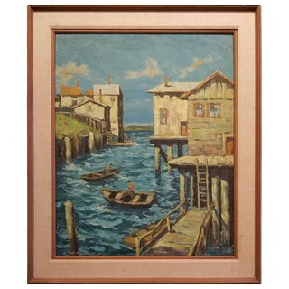 Painting of Cannery Row, Monterey by Fred Korburg For Sale