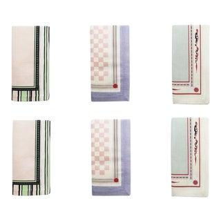 Tiger Lily, Pandora & Ophelia Cotton Linen Napkins Set of Mixed 6 For Sale