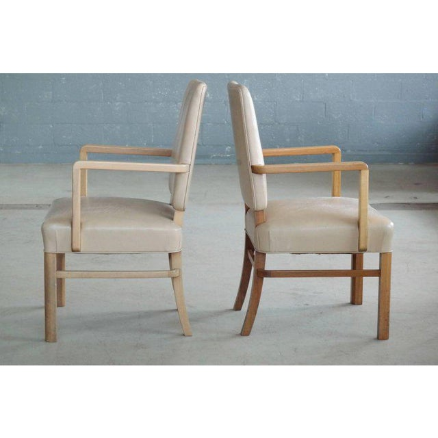 Pair of Danish Midcentury Executive Desk or Side Chairs in Beige Leather For Sale In New York - Image 6 of 9