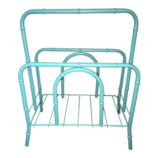 Vintage Faux Bamboo Turquoise Metal Magazine Rack For Sale