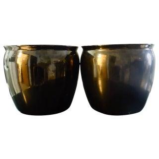 Pair of 1980s Metallic Bronze Glaze Planters For Sale