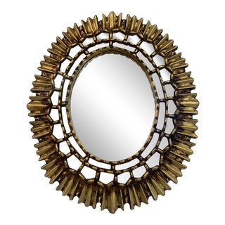 1940s Vintage Carved Wooden Sunburst Mirror For Sale