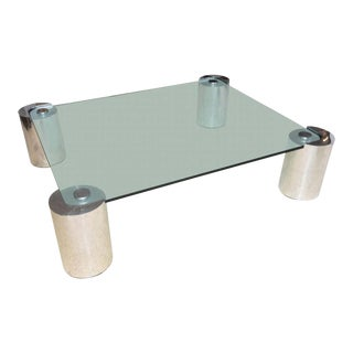 American Modern Polished Chrome and Glass Low Table, Karl Springer