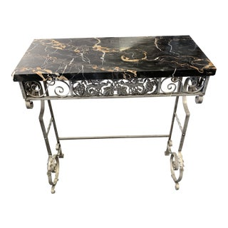 19th Century Art Deco Iron Base Marble Top Radiator/Console Table For Sale
