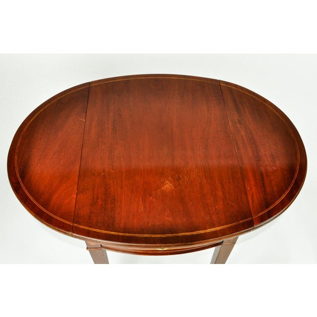 Mid 19th Century Antique Cherry and Satinwood Banded Pembroke Side Tables - a Pair For Sale - Image 5 of 13