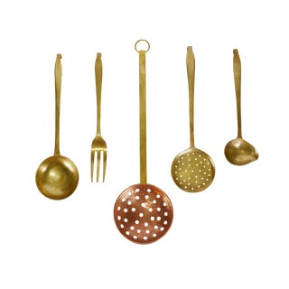 Mid 20th Century Vintage Handmade Hanging Solid Brass and Copper Kitchen Cooking Utensils - Set of 5 For Sale