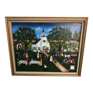 Original Wedding Scene Oil Painting on Canvas by Doris Putnam For Sale