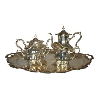 Strasbourg by Gorham Silver Plate Tea & Coffee Service With Butler Tray - 5 Piece For Sale