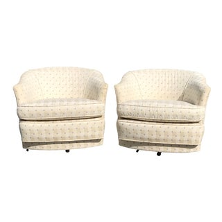 Mid Century Modern Barrel Club Swivel Chairs on Casters - a Pair For Sale