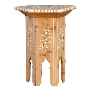 Hexagonal Syrian Floral Inlaid Side Table For Sale