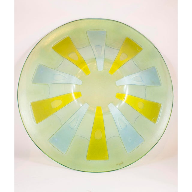 "This bowl measures 12 1/2""W x 6""Hx 12"" D and is made on a beautiful background with a free form design."
