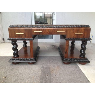 Important Art Deco Desk Table in Walnut With Black Glass Top Preview