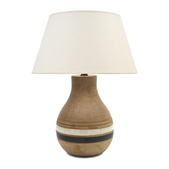 1950s Mid-Century Striped Ceramic Table Lamp Signed by Bruno Gambone C. 1950 For Sale - Image 5 of 5