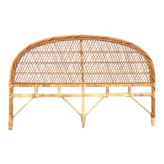 Vintage Woven Rattan King Headboard For Sale