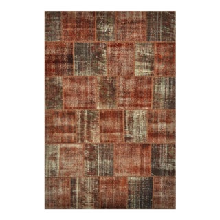 """Turkish Over-Dyed Distressed Patchwork Area Rug - 6'7"""" X 9'11"""""""