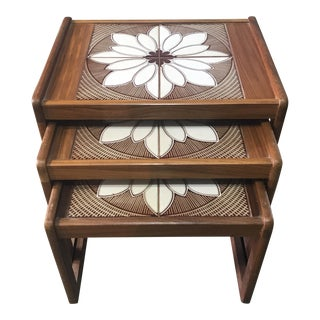 Mid-Century Modern Tiled Top Nest of Tables- 3 pc.