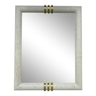 Mid-Century Art Deco Styled Wall Mirror With Brass Accents