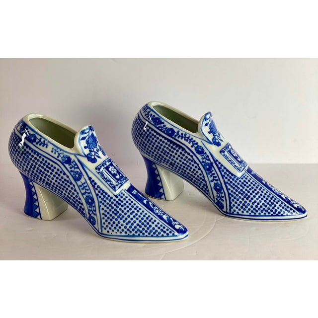 Blue Vintage Chinoiserie Royal Blue Porcelain Shoes - a Pair For Sale - Image 8 of 8