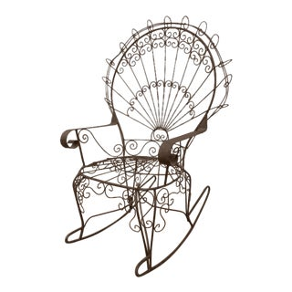 1960s Vintage Wrought Iron Garden Vintage Rocking Chair For Sale