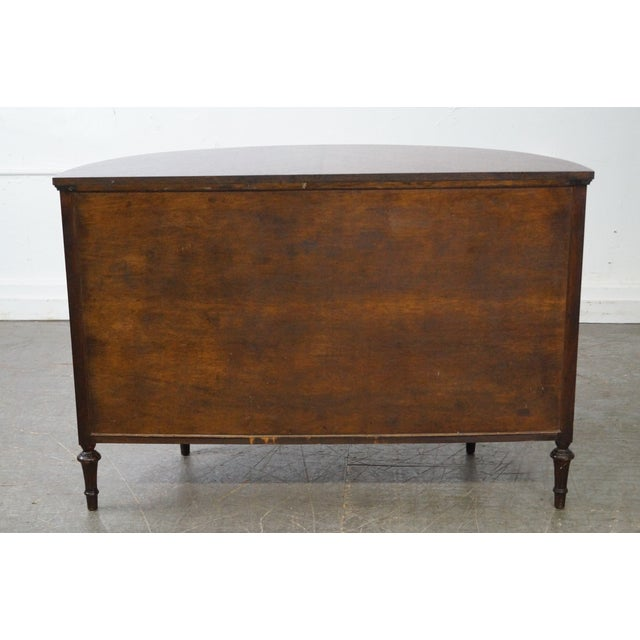 Antique 1920s Demilune Inlaid Walnut Louis XVI Style Chest of Drawers - Image 4 of 10