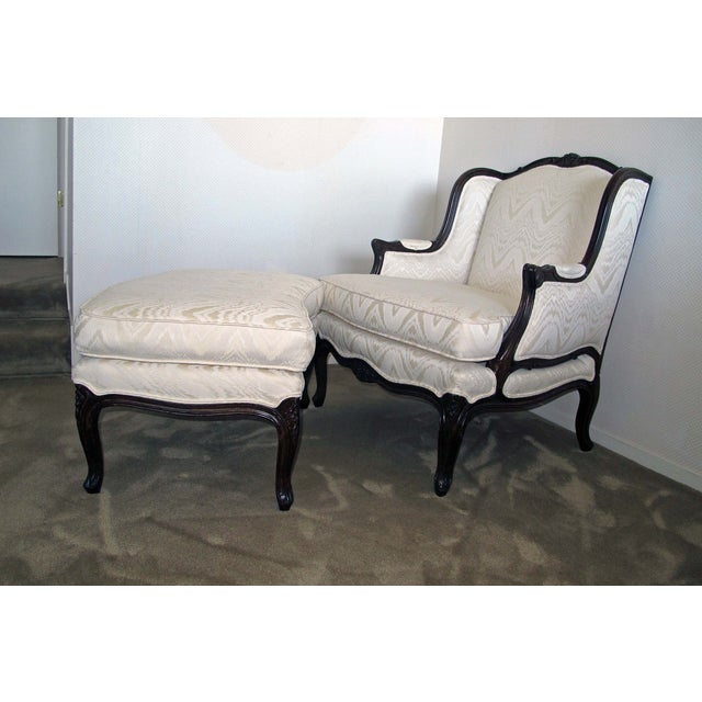 Bergere Chair & Ottoman in Off-White Damask - Image 2 of 6