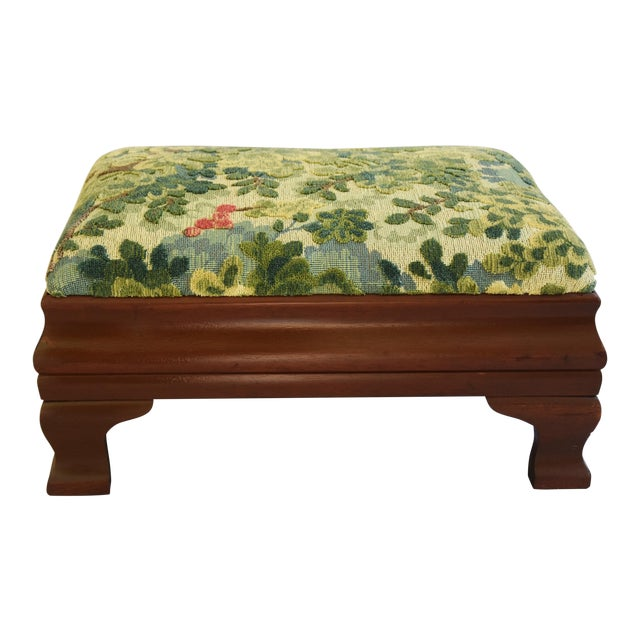 Early 1900s Foot Stool w/ Scalamandre Marly Velvet Fabric - Image 1 of 11