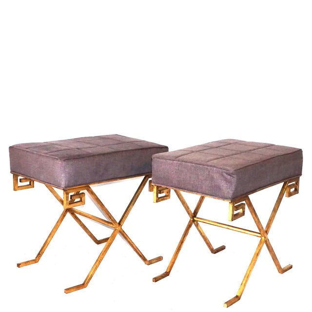 Gilded iron small benches or stool, upholstered with seat support on an X-form base with a Greek key design. Jean-Michel...