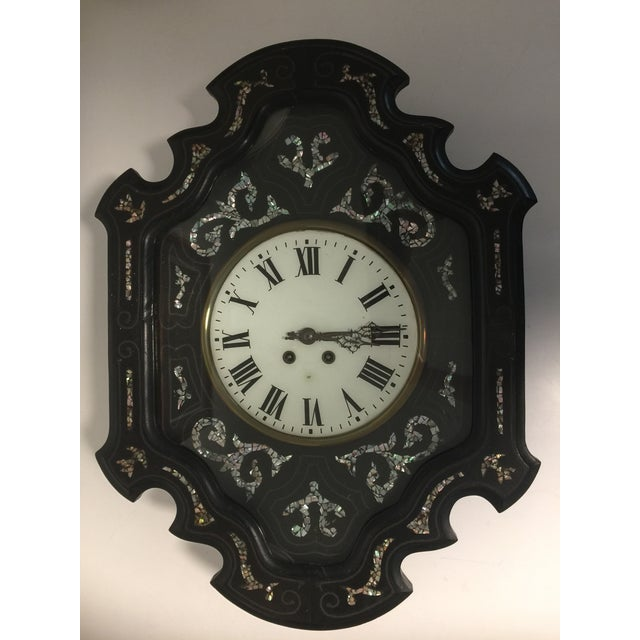 Napoleon III Ebony and Mother of Pearl Inlay Wall Clock For Sale - Image 11 of 11