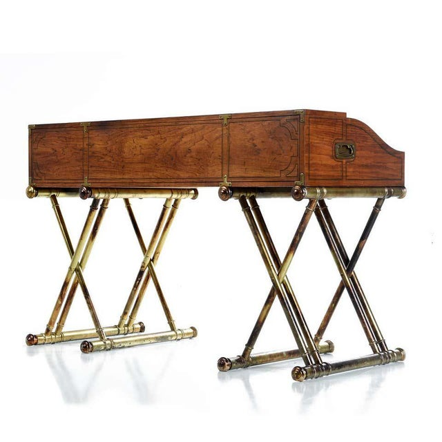 Oxford Square by Drexel Faux Brass Leg Campaign Style Tambour Roll Top Desk For Sale - Image 11 of 13