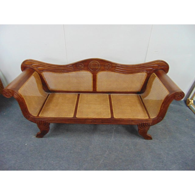 Anglo Indian style sofa , mahogany frame with shell and floral carved accents , caned seat and back panels